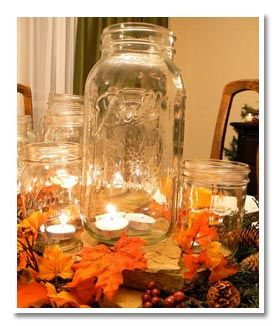 Wedding Centerpiece With Fall Leaves And Candles