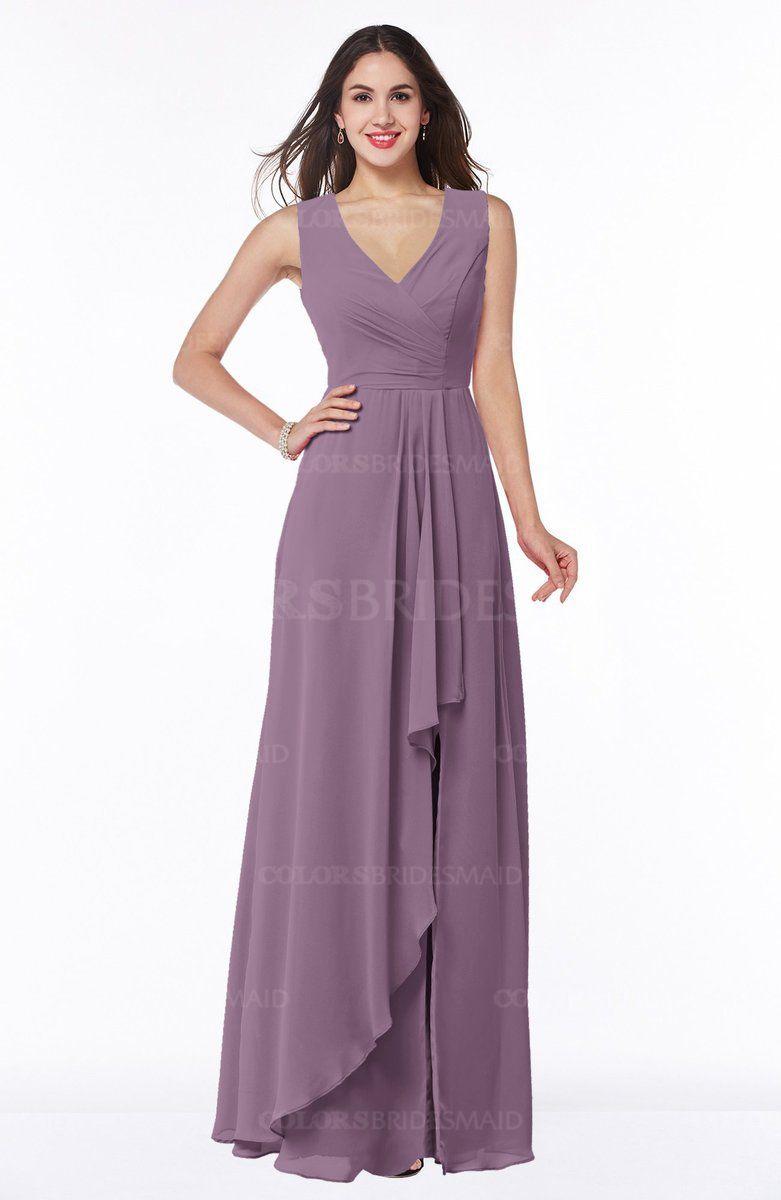 Valerian Glamorous A-line Sleeveless Zipper Chiffon Floor Length ...