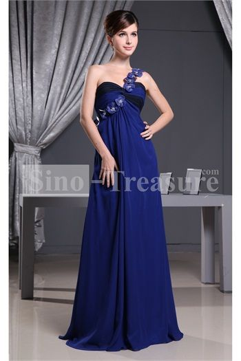 Royal Blue Black A Line Floor Length Sleeveless One Shoulder
