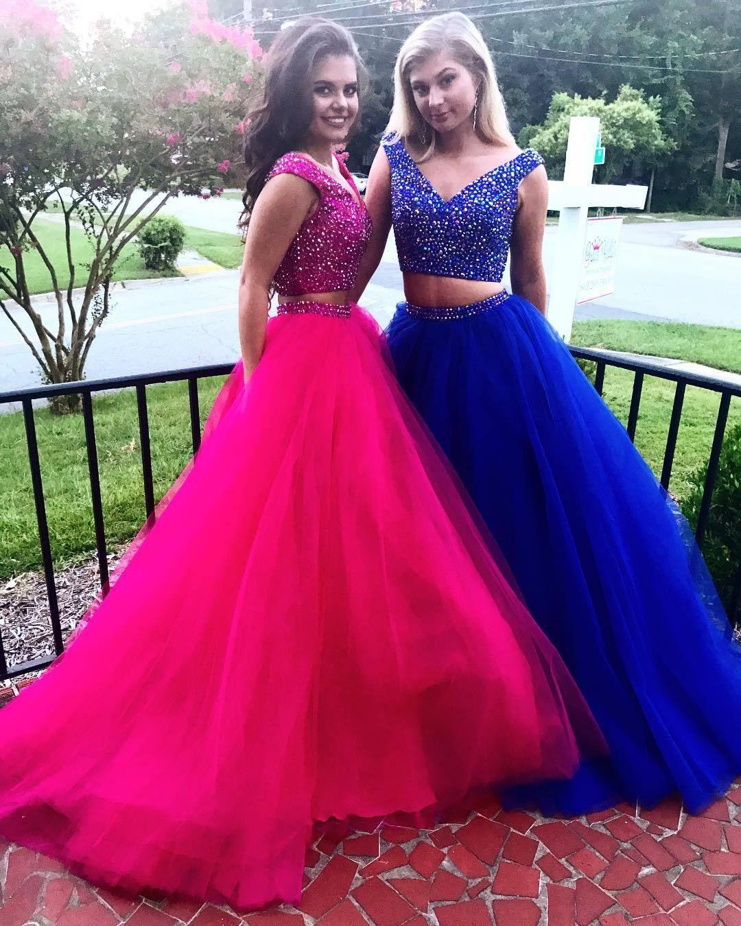 V neck prom dresslong sleeveless prom dressteens prom dress