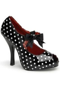 PINUP COUTURE RETRO FOOTWEAR COLLECTION 4 1/2 Inch High Heel Patent Mary Jane Polka Dot Peep Toe Pumps With Elastic Strap And Bow.