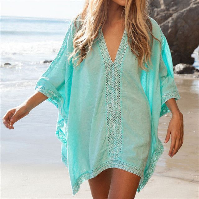 2074f7c7bc Plunge-front Caftan Pareo Beach Cover Ups Rayon White Robe De Plage Sarong  Plus Size