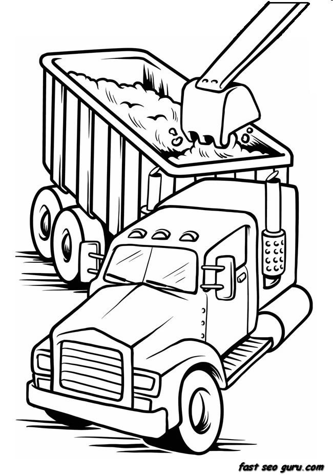 Printable work load truck coloring book page for boy | >coloring ...