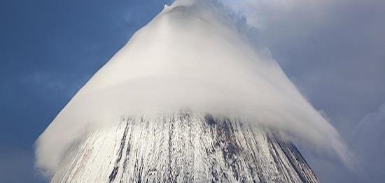 Lenticular Cloud Over Klyuchevskaya Sopka Mountain Russia By
