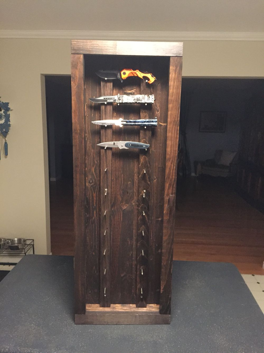 Knife display case pinteres for Homemade rack case