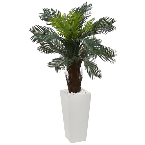 4 5 Cycas Artificial Plant In White Tower Planter Artificial Plants Outdoor Artificial Plants Planters For Sale