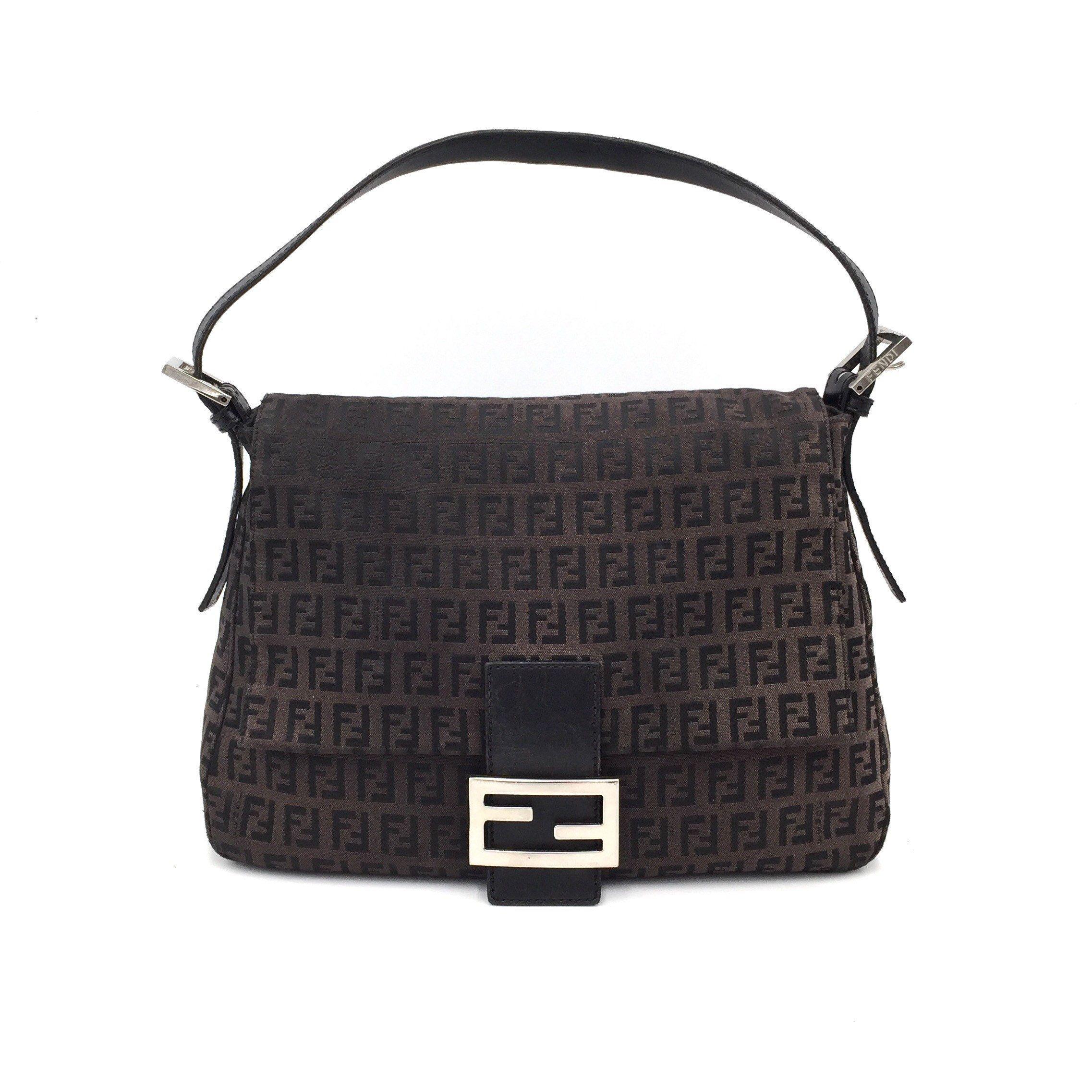Authentic Vintage Fendi Zucchino Dark Brown Mama Baguette Brown Shoulder Bag Fendi Bags