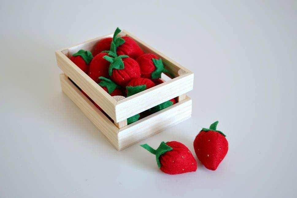 Holz Obstbox Kaufladen-Zubehör Obstkiste Spielzeug Kaufmannsladen Kaufladen Obst