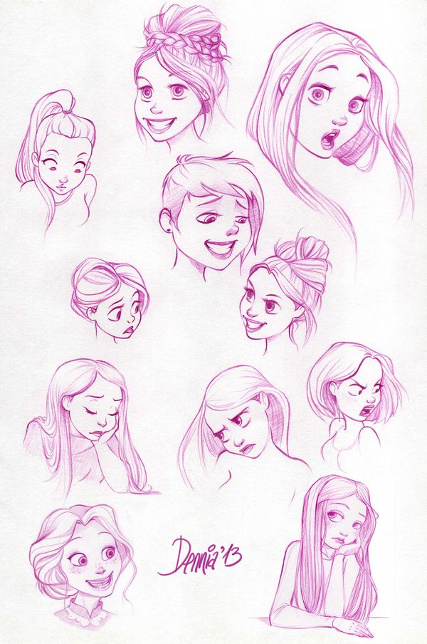 Character Design Painting Tutorial : Disney style drawing of girls reference