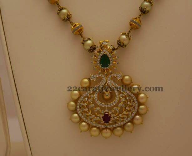 Simple pearls chain and jhumka pearl chain chains and for Simple gold ornaments