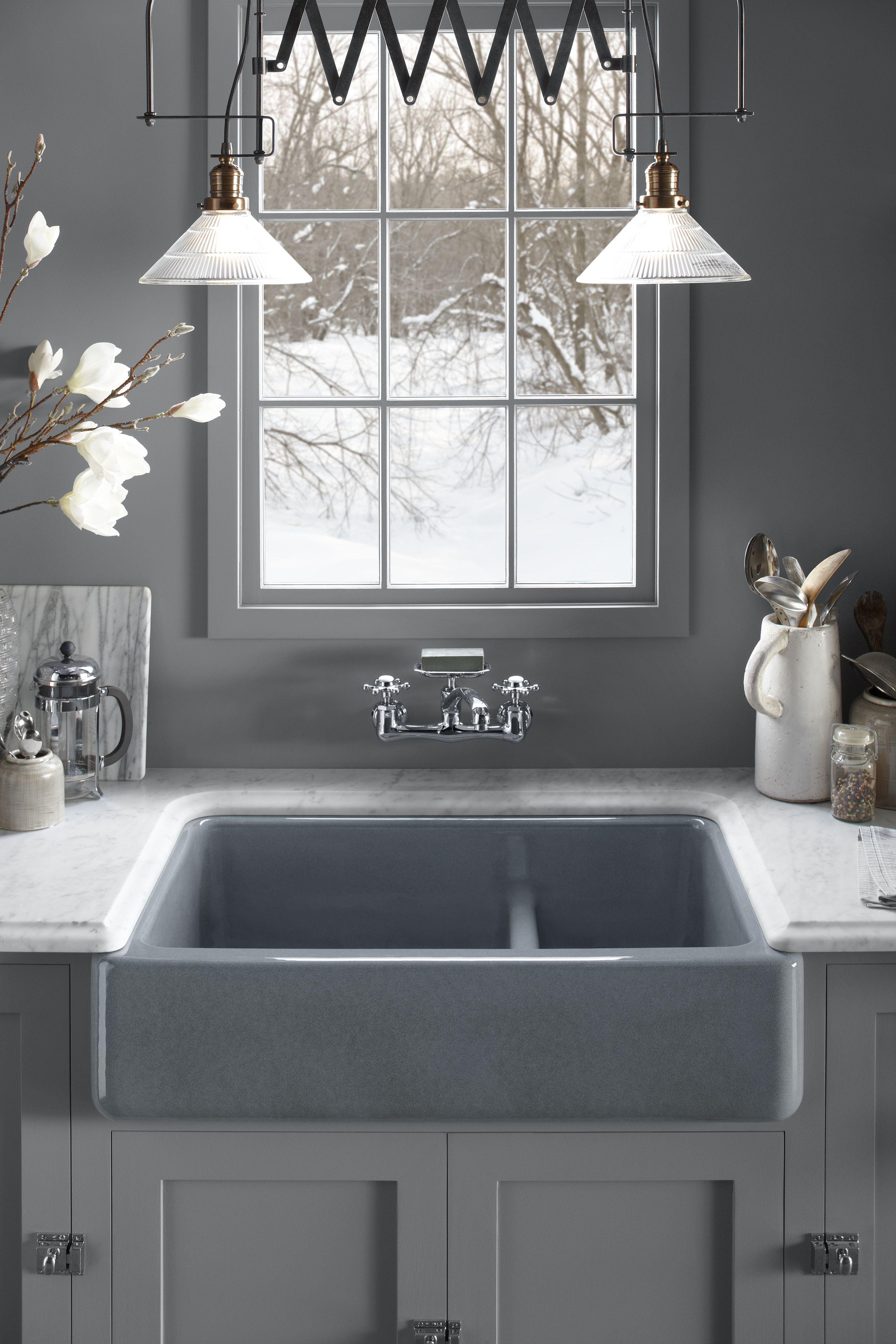 Kohler Smart Divide Bowls Make Our Whitehaven Sinks More Functional Than  Ever. A Low Barrier