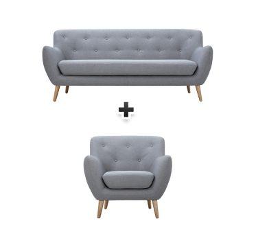 Canapé 3 places fauteuil tissu gris clair MILO