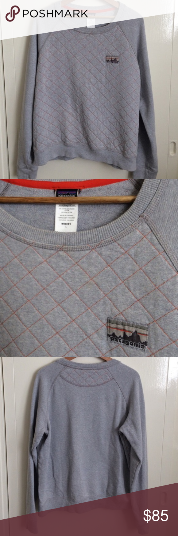 Patagonia Crew Quilted Sweater Quilted grey cotton material and orange thread detail. Patagonia logo on the chest. Cool detail on the back. Size large sweatshirt. Excellent condition. Is available! Patagonia Sweaters Crew & Scoop Necks