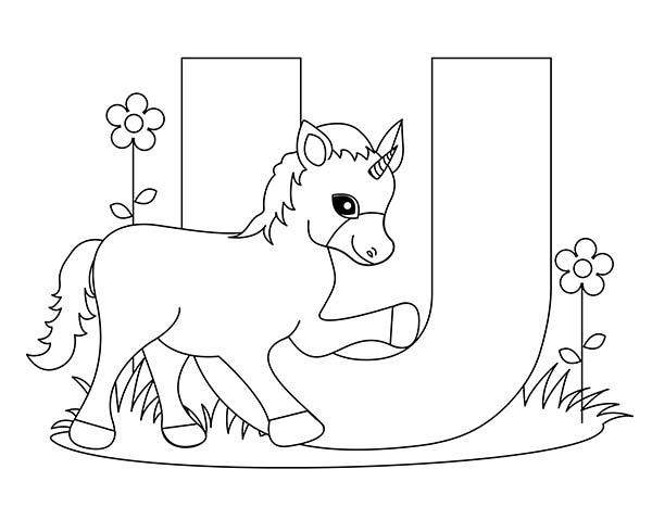 Big Letter U For Unicorn Coloring Page Bulk Color