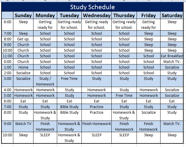 Study Schedule Template Designed Perfectly For You To Make Use Of