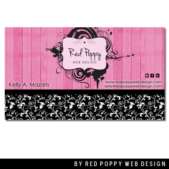 Premade Business Card Design Digital Business Cards Vintage Pink