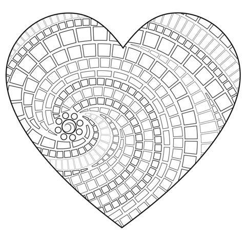 Mosaico en forma de corazón Dibujo para colorear | Mosaic ~ Tools ...
