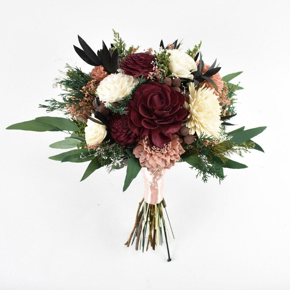 Faux Bouquet,Bridal Bouquet Bohemian Bridal Bouquet,Burgundy Sola Flower,Handmade wedding bouquet,Keepsake Bouquet Wedding Bouquet
