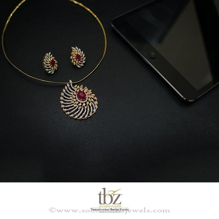 Diamond ruby pendant set from tbz pinterest ruby pendant diamond ruby pendant sets diamond pendant sets with rubies aloadofball Image collections