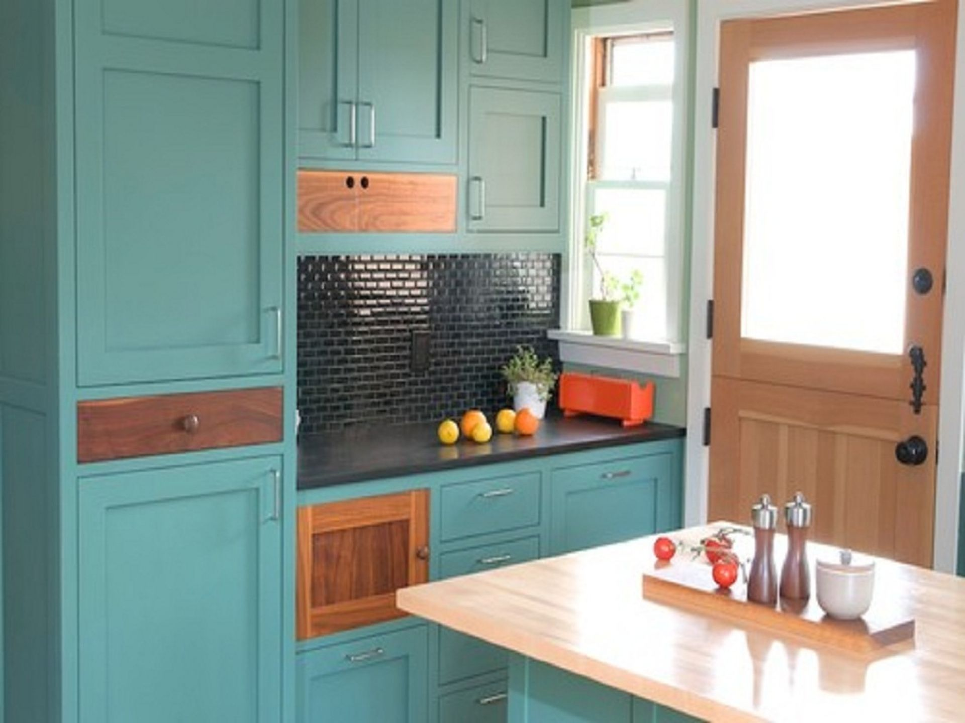 Unique Built In Turquoise Kitchen Cabinet With Black Granite ...