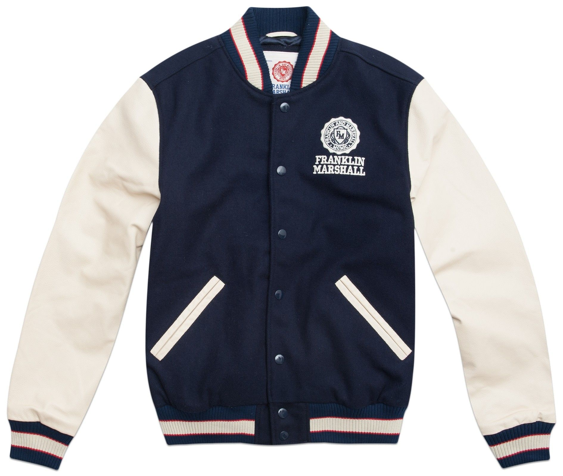 a9656a557810 Letterman jacket in wool and leather - Jackets - MAN - Franklin   Marshall  - Franklin   Marshall
