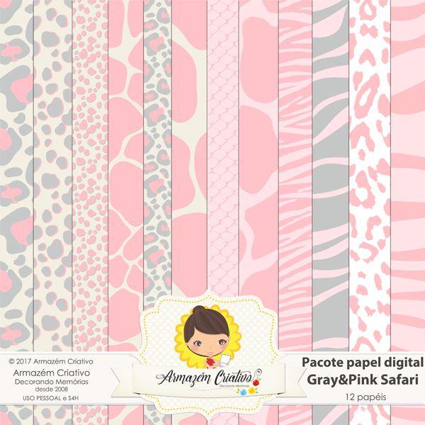 Pacote papéis - Gray&Pink - Safari Já à venda na loja>> goo.gl/Ja6j1o