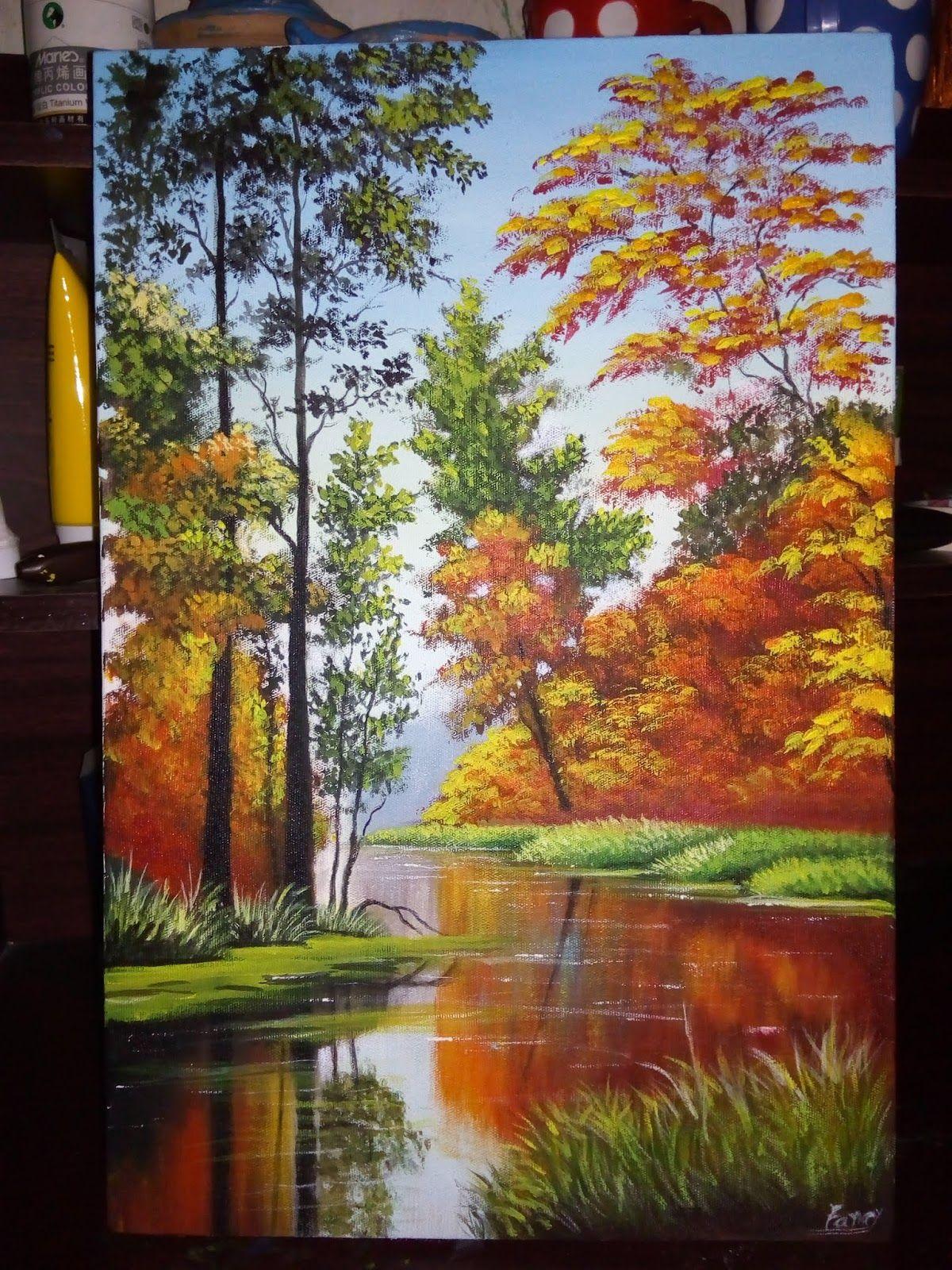 Easy Realistic Acrylic Painting Acrylic Painting Flowers Lake Painting Landscape Paintings Acrylic