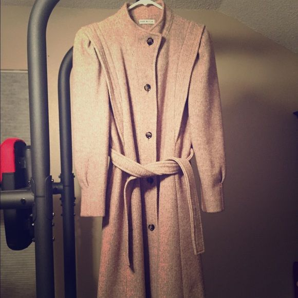 Vintage long wool herring bone coat