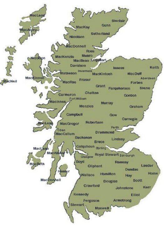 Clan Map Skotland Slaegt