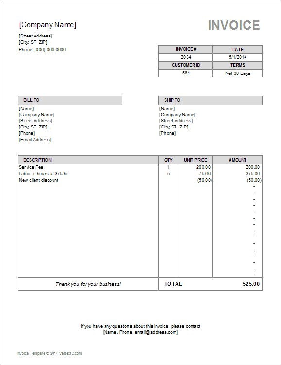 download a free billing invoice template for excel  designed for freelance  accounting