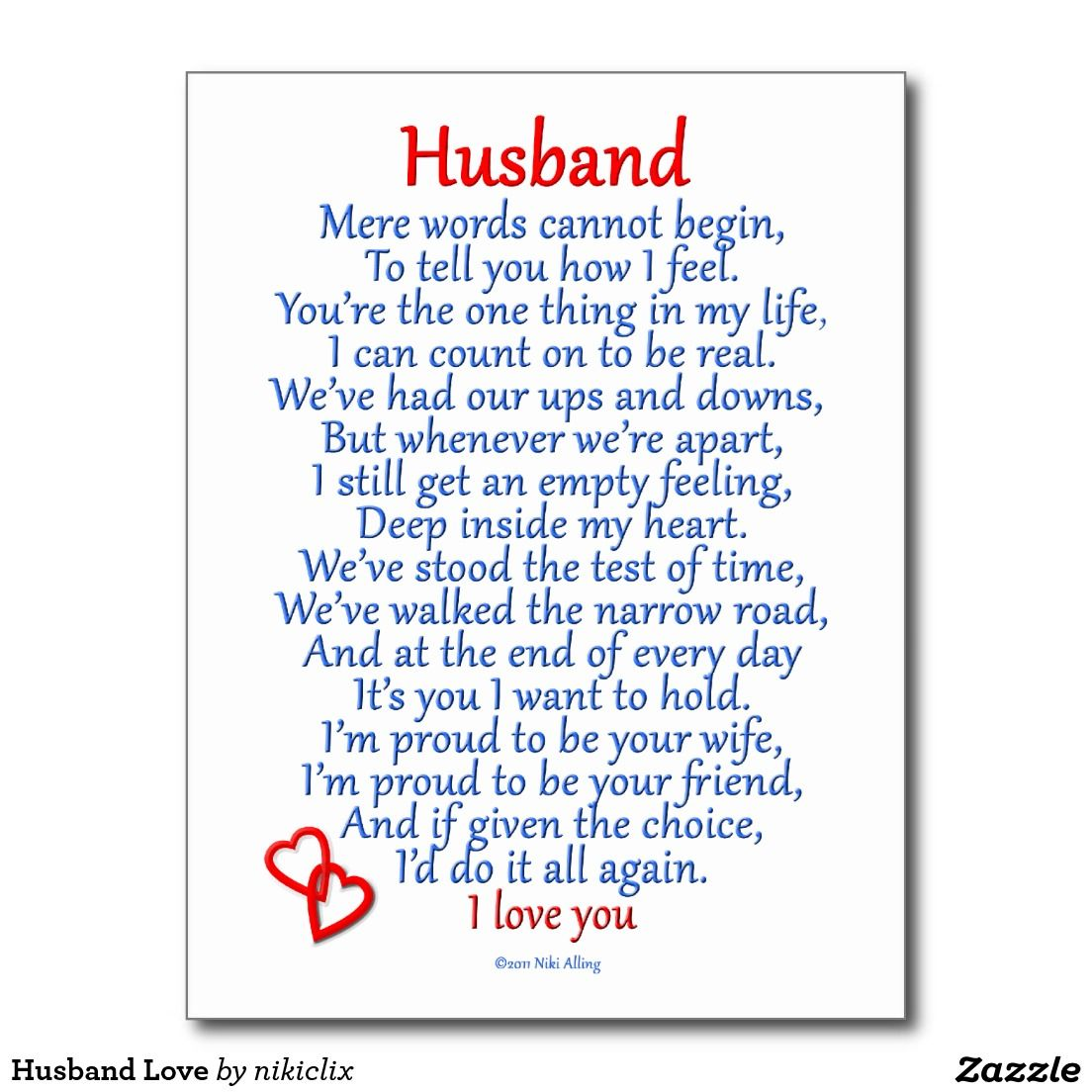 Husband Love Postcard Zazzle Com Husband Quotes Birthday Poems Fathers Day Quotes