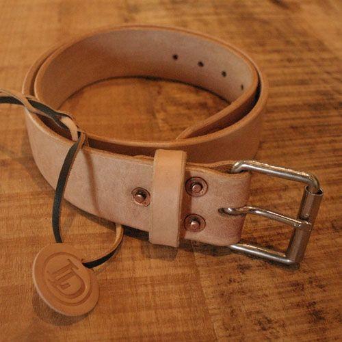 SUN/SET/STAR # LowDown 'RIVET' Leather Belt Natural