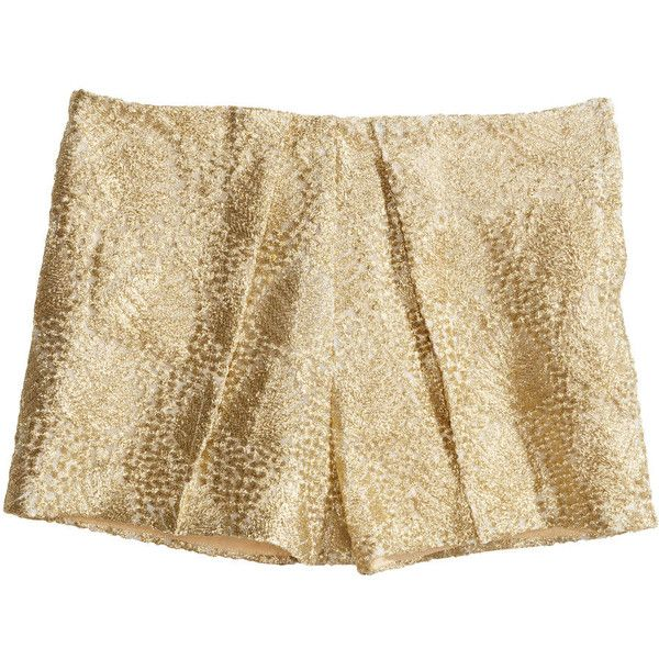 H&M Shorts with metal embroidery (110 RON) ❤ liked on Polyvore featuring  shorts,