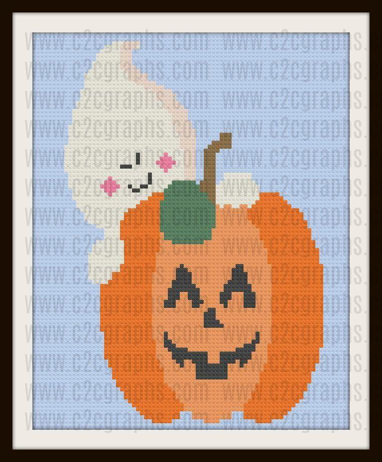 Ghostly Happy Halloween Afghan, C2C Graph, Crochet Pattern | C2C ...