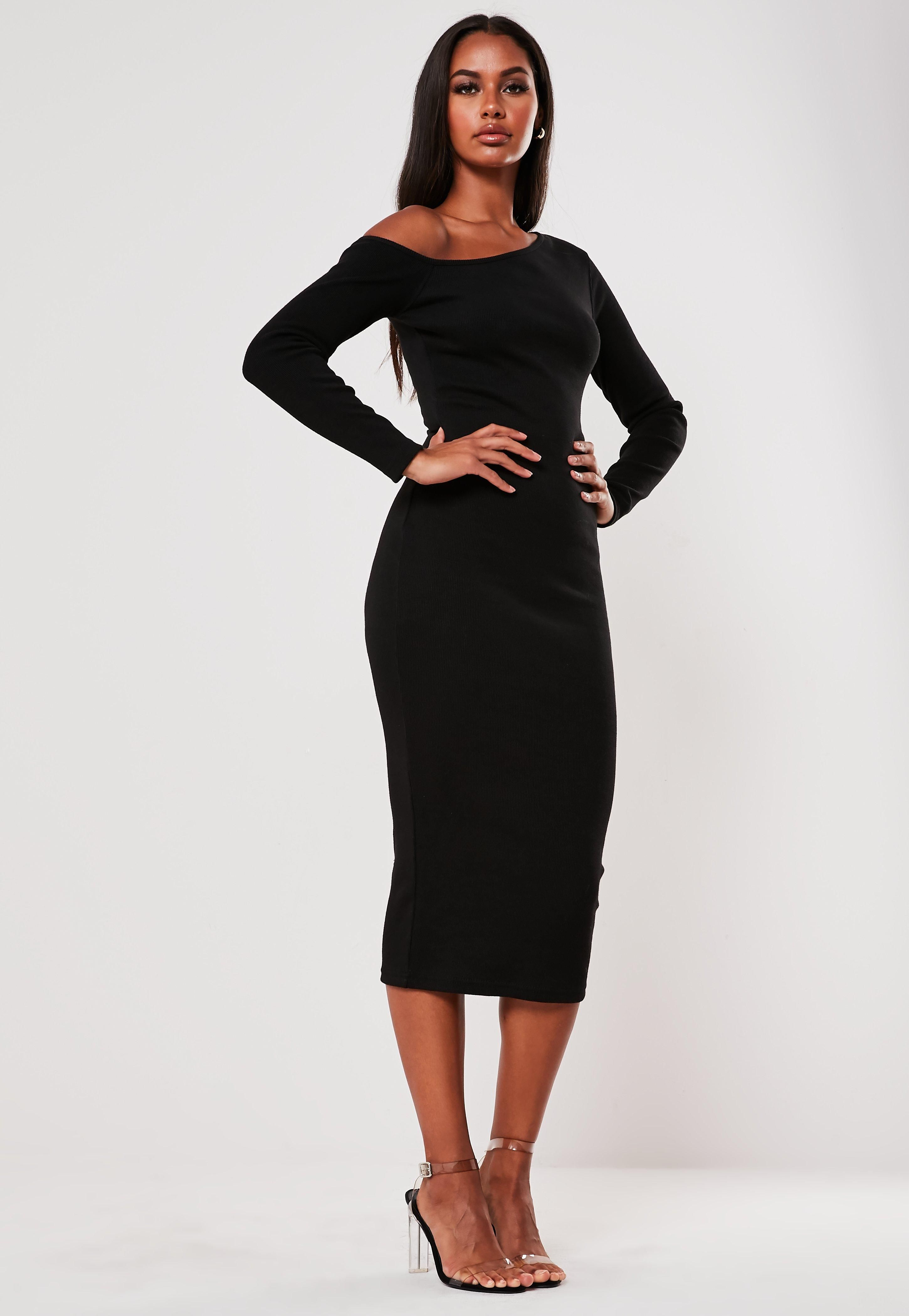 Black Rib Off Shoulder Bodycon Midi Dress Sponsored Shoulder Spon Rib Black Midi Dress Bodycon Dresses Midi Dress [ 4200 x 2900 Pixel ]