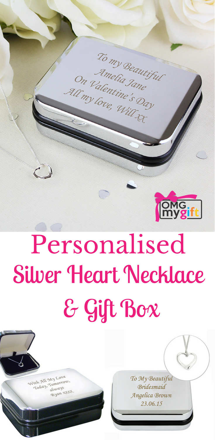 Silver Heart Necklace in a Personalised Presentation Box