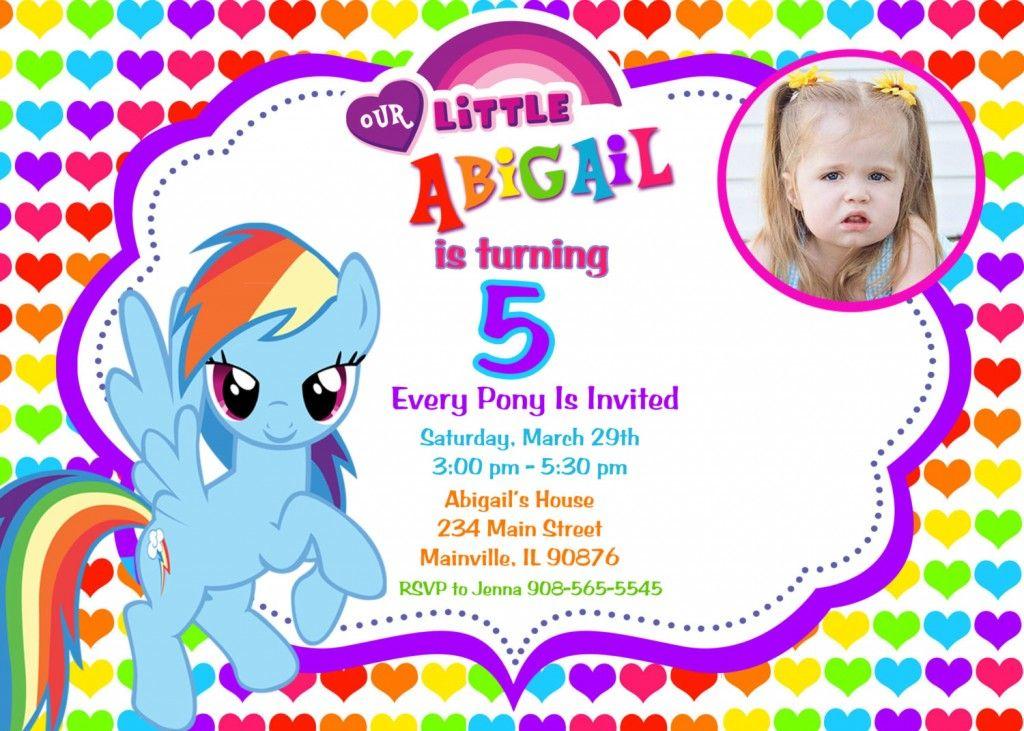 Rainbow Design My Little Pony Birthday Party Invitation Custom Photo My Little Pony Invitations My Little Pony Party My Little Pony Birthday