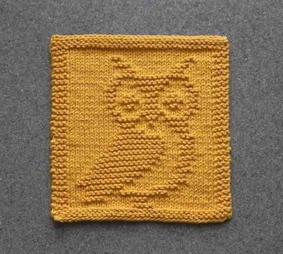 Knit Dishcloth OWL - Hand Knitted Unique Design - Gold 100 ...