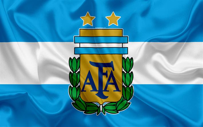 Download Wallpapers Argentina National Football Team Logo Emblem Flag Of Argentina Football Federation World Championship Football Silk Texture Besthqwal Argentina Football Argentina Soccer Team Football Wallpaper