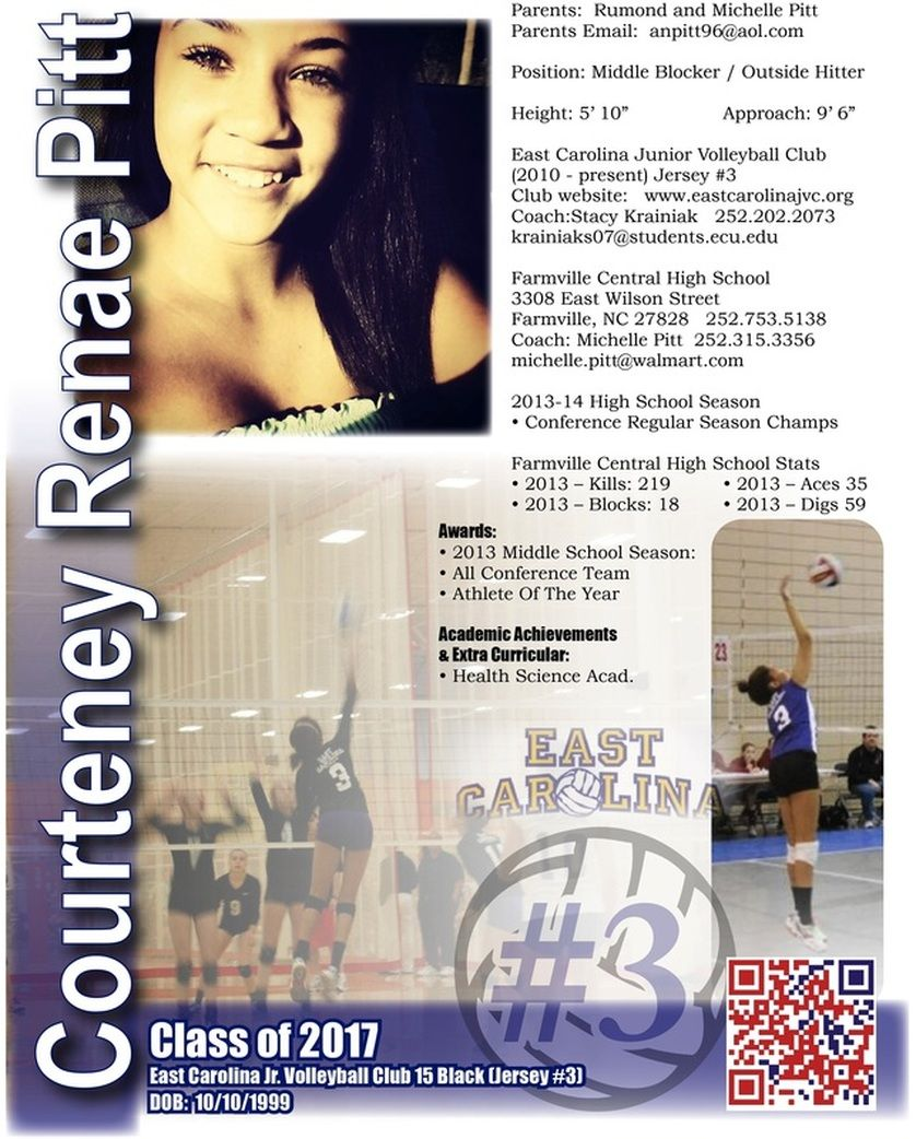 Volleyball Resume  Sports ResumesRecruiting Flyers