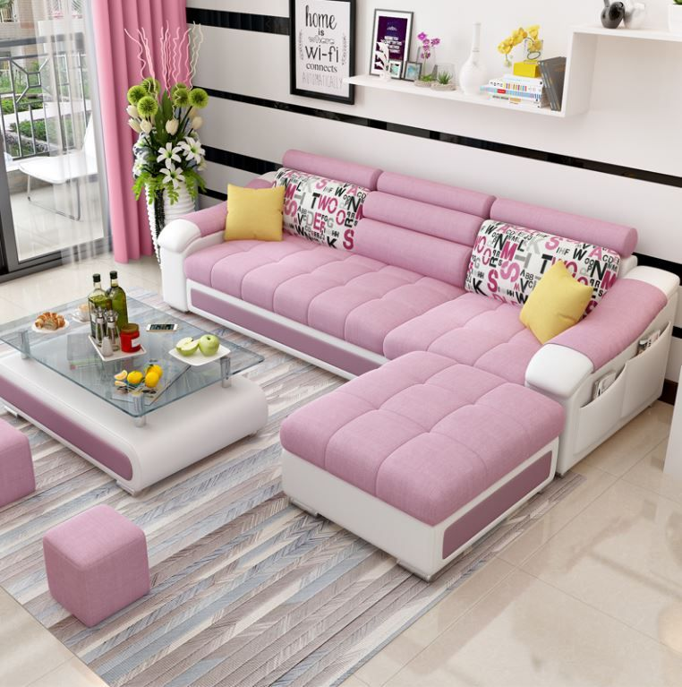 White pink sofa for L shaped living room design in 2020 ...