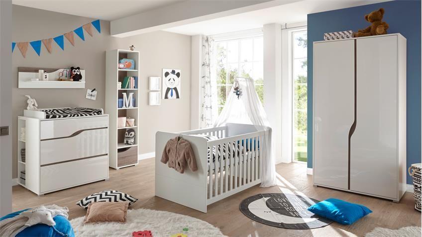 Babyzimmer 2 Marra 3 Teilig Mdf Weiss Hochglanz Eiche Sonoma Truffel Modernes Babyzimmer Babyzimmer Eiche
