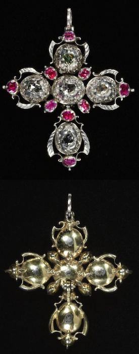 Pendant Cross, Europe 18th Century. Pendant cross with rose-cut diamonds and rubies set in silver, backed with gold.