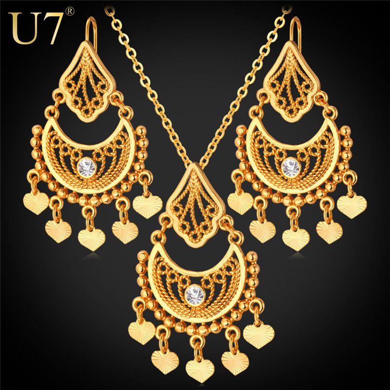 U7 Gold Plated Indian Jewelry Set For Women Rhinestone Fashion