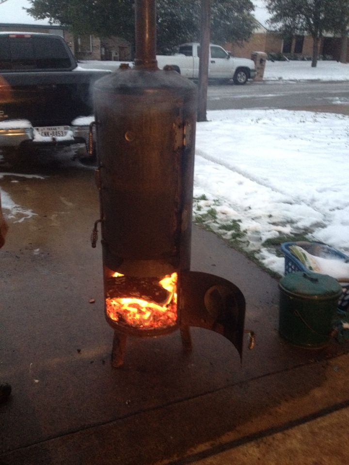 Meat Smoker Made From Our Old Hot Water Heater Works Awesome I Can Make You One For 500 Metal Fireplace Diy Smoker Hot Water Heater