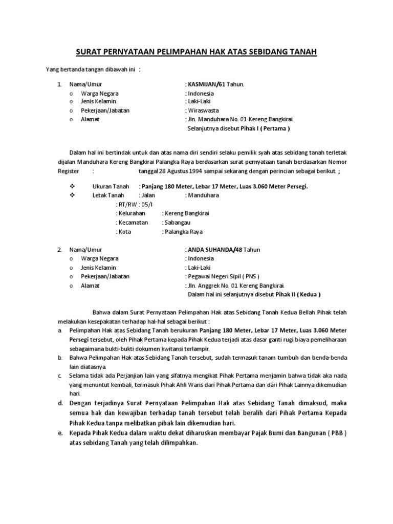 10 Contoh Surat Hibah Tanah Rumah Benda Dll Paling Lengkap Surat Wasiat Surat Tanah