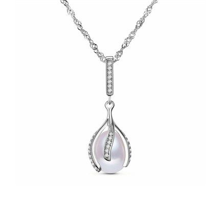 Chic 925 Sterling Silver Necklace, Micro Pave AAA Zircon Bud Pendant with Fresh Water Pearl, Platinum; Size:about 450mm in perimeter; Pendant:about 10mm in diameter.<br/>Priced per 1