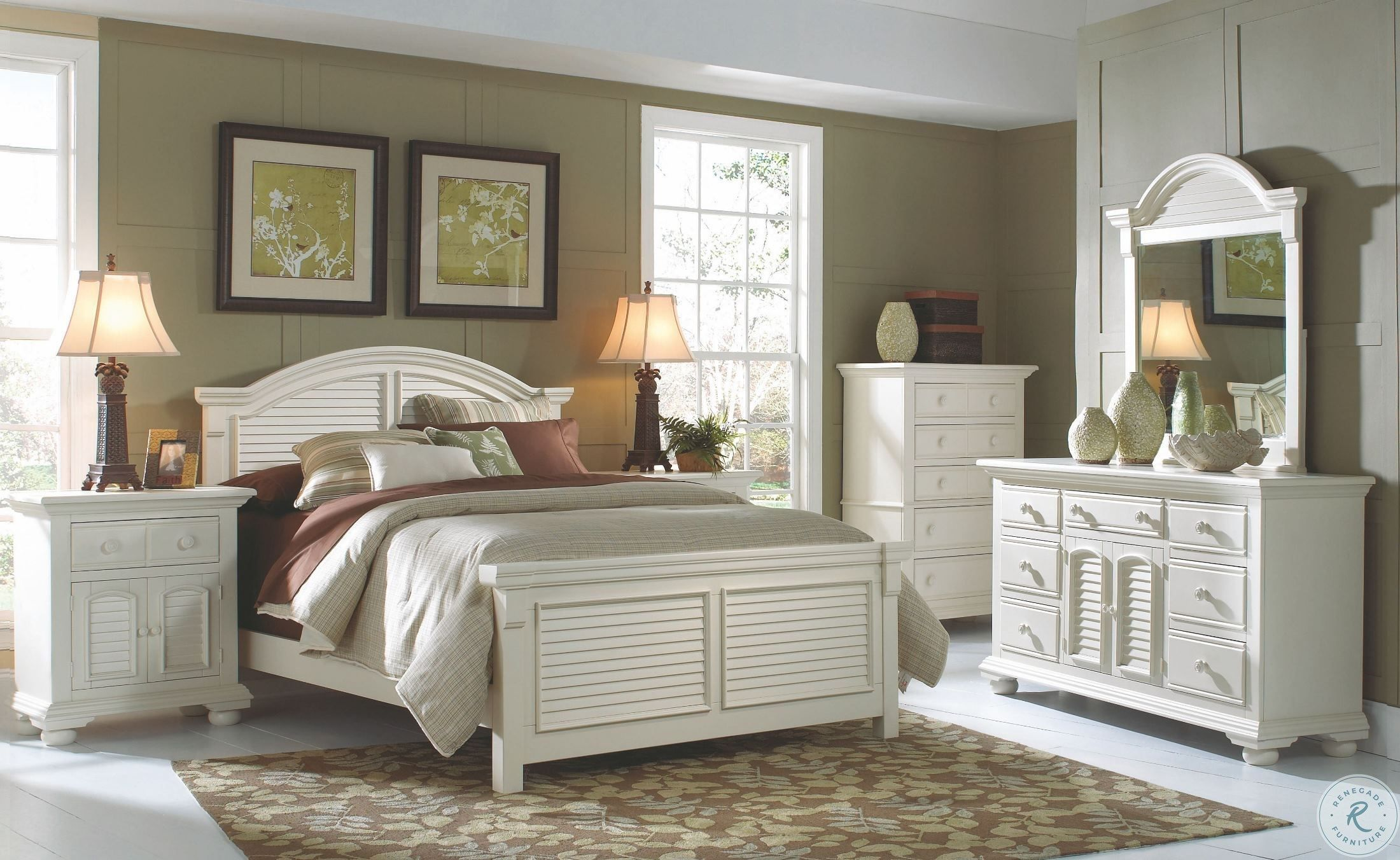 Bethel Antique White Storage Sleigh Platform Bedroom Set