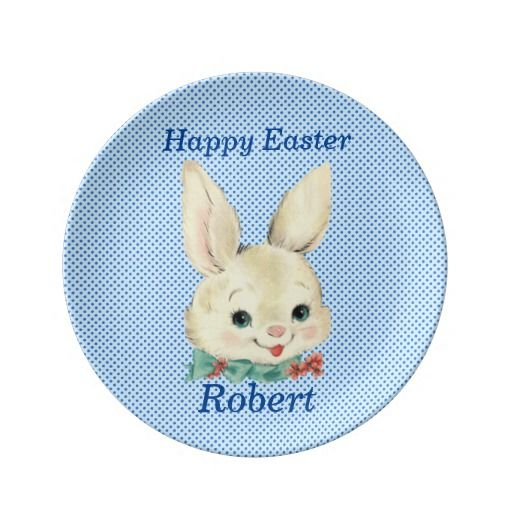 Easter bunny personalized porcelain plate baby boy gifts easter bunny personalized porcelain plate negle Image collections