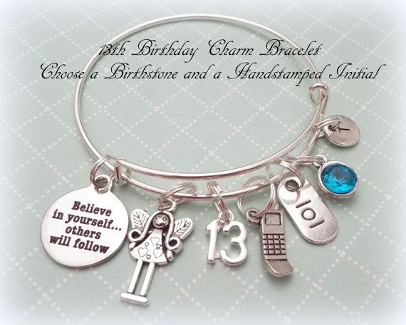 13th Birthday Gift Charm Bracelet Daughter Ideas Personalized Jewelry Teenage Girl By HopeisHipJewelry